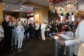 Yvonne Sininger, Hestia Chair, welcoming everyone